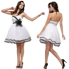 Cute Sexy Black White Strapless Flower Mini Wedding Cocktail Party Dresses 03287