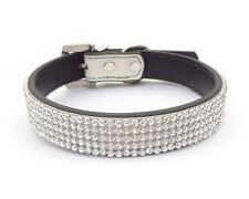 White Leather Collars Bling Rhinestone Crystal Diamond Pet Dog Cat Puppy Collars
