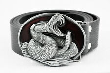 NEW Western Rattle Snake Python Rattlesnake Viper Cobra Buckle Leather Belt Boys