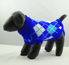Dog Sweater Blue Plaid Knitted Jacket Jumper Puppy Coat Chihuahua XS S M L XL