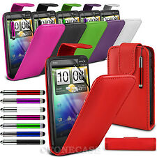 Leather Flip Case Screen Protector& Retractable Stylus Pen For HTC Evo 3D