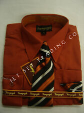 Boys Paprika Dress Shirt with Matching Tie & Hankie Long Sleeves Sizes 4 to 20