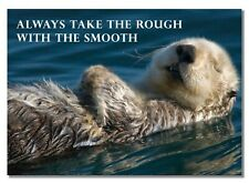 Motivation - always take the rough with the smooth - otter chilling -  A3 poster