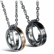 Fashion Couple Necklace SS Eternal Love Pendant Double Ring Forever Gifts 832