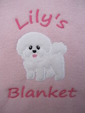 Personalised Dog / Puppy Blanket - Soft & Cosy Fleece - Bichon Frise  Great Gift