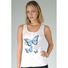Just Add Sugar Womens Tank Butterfly Top Pink or White Ladies Summer RRP $34.95