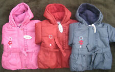 Baby Girls Padded Fleece lined Hooded Coat Jacket w Belt Pink / Purple / Red