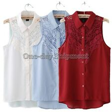 Sexy Women Lace Trim Solid Chiffon Vest Sleeveless Collared Blouse Top Shirt