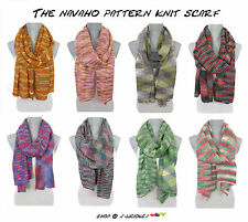 LONG MULTI-COLOR NAVAHO PATTERN KNIT SCARF soft warm fall winter designer trend