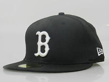 New Era Men's Fitted Hat 59FIFTY MLB Boston Red Sox Black White