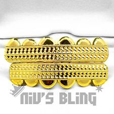 14k Gold Custom Diamond Cut GRILLZ Bling Tooth Mouth Teeth Caps HipHop Grill 20G
