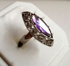Marquis Amethyst Silver Cocktail Ring Purple Cubic Zirconia Size 8 9 USA Seller