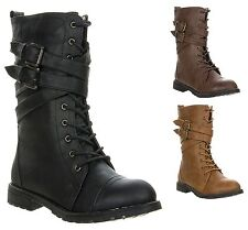 New Women's Buckle Strap Lace Up Combat Military Fashion Mid Calf Boot STELLA-2