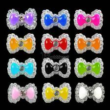 New 20pcs Acrylic Cute Bowknot Bow Tie Glitter Gel UV 3D Nail Art Tips DIY WT88