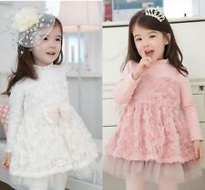 New Korea Kids Girls Dimensional Flowers Tulle Thick Cotton Dress 3-8 Y D141