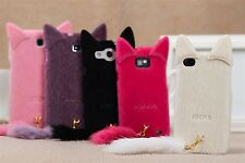 cute mink Cat plush with tail Jelly Case Cover For VARIOUS Mobile Phones