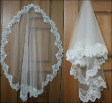 High-end hand-beaded lace wedding bridal veil white/ivory sequins mantilla