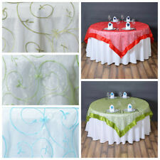 "10 pcs 72x72"" Embroidered Sheer Organza Table Overlay Wedding Tabletop Linens"
