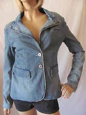 New MISS ME Womens Blue L/S Button Front Beaded Denim Blazer Jacket Top $88