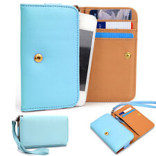 Slim Blue Flip Designer PU Leather Smartphone Wrist-Let Cover Pouch Bag Guard