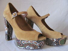 New LUCKY BRAND Womens Brown Suede Platform Pumps Neece Hi Heels Shoes $119