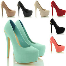 NEW WOMENS PLATFORM STILETTO PARTY HIGH HEEL LADIES COURT SHOES HEELS SIZE 3-8