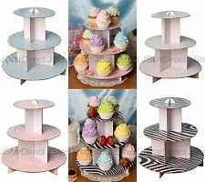 "12"" 3 Tier Cardboard Cup Cakes Display Holder Stand Tower Wedding Baby Shower"