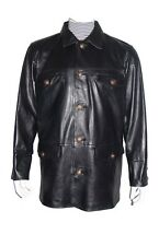 2023 Real Sheepskin Expensive Luxury Mens Black Leather Coat Silky Fabric Lining
