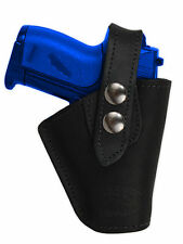 Barsony OWB Black Leather Belt Clip Holster for Llama, NA Arms Mini 22 25 380