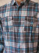 New DC Shoes Mens Grey Aqua Plaid Knit Button Front L/S Flannel Shirt Top $55