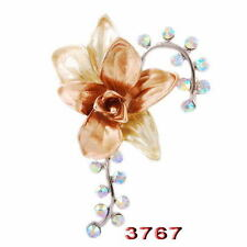 Charms Clear rhinestone Flower floral wedding Bridal Crystal brooch pin jewelry