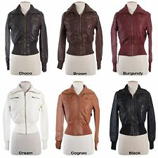 Women Slim Motorcycle Biker PU Faux Leather Bomber Jacket Coat Outwear Vintage