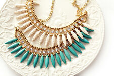 Fashion Turquoise Multi-color Rhinestone Wolf Tooth Shape Bin Statement Necklace