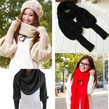 Women Lady Solid Scarf With Sleeve Crochet Knit Long Scarf Wrap Shawl Scarves