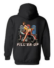 MEN'S PULLOVER BIKER HOODIE Fill'er Up MOTORCYCLE GAS PUMP PIN UP SEXY BABE S-5X