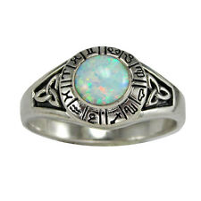 Sterling Silver Glittering Opal Zodiac Astrology Horoscope Sign Ring  (sz 4-15)