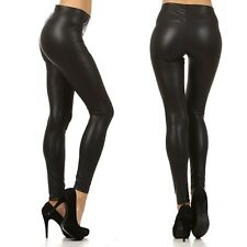 Sexy Low Waist Faux Leather Slim Fitted Ankle Skinny Leggings Pants Clubwear