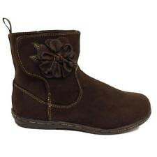 GIRLS KIDS CHILDRENS BROWN ANKLE FLOWER VELCRO SCHOOL BOOTS SHOES SIZE 4-12