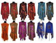 Chinese Lady Women Pashmina/Silk Shawl/Scarf Wrap With Butterfly Multi-Color