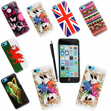 For Apple iPhone 5C Stylish Printed Hard Shell Back Protection Case Cover+Stylus