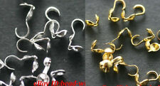 100pcs Wholesale Silver/Golden Metal Crimp End Beads For Jewelry Making 9*1.5mm