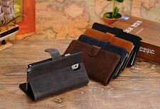 Retro Folio Wallet Genuine Real Leather Stand Case F Samsung Galaxy Note 3 N9000