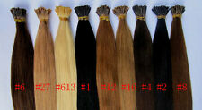 """50S 18""""100% Remy Human hair extensions Keratin Stick tip I-tip+micor beads"""
