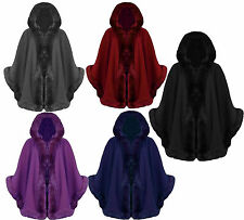 R29 NEW WOMENS FAUX FUR HOODED LADIES  CAPE PONCHO IN PLUS SIZE 08-26.