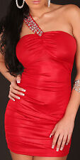 Sexy Party Mini Dress Clubbing Bodycon Stretchy One shoulder Red UK 8-10