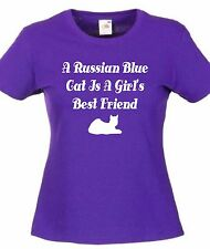 A RUSSIAN BLUE CAT IS A GIRL'S BEST FRIEND T-SHIRT Christmas Gift Mother's Day