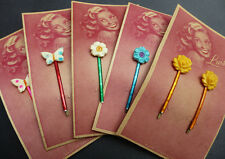 Gorgeous 1940s LUISA Celluloid Flower Hairslides - Made in Germany