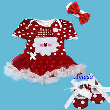 Xmas Bling Santa Red White Polka Dots Bodysuit Tutu Romper Party Dress Shoes Bow