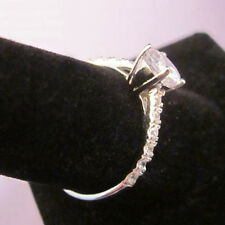 STERLING SILVER Solitaire Accented CZ Band Ring Size 5, 6, 7, 8