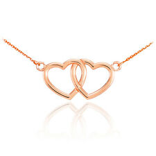 14K Rose Gold Double Heart Pendant Sideways Necklace Valentine's Day Gift